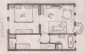 Bed and breakast Maastricht plattegrond van het appartement
